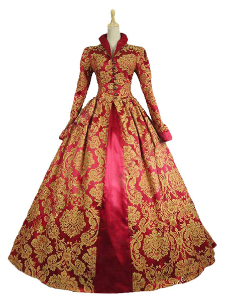 Milanoo Victorian Dress Costume Baroque Costume Red Lace Ruffles Stand Collar Gold Stamping Vintage Victorian era Clothing Retro Dress Halloween