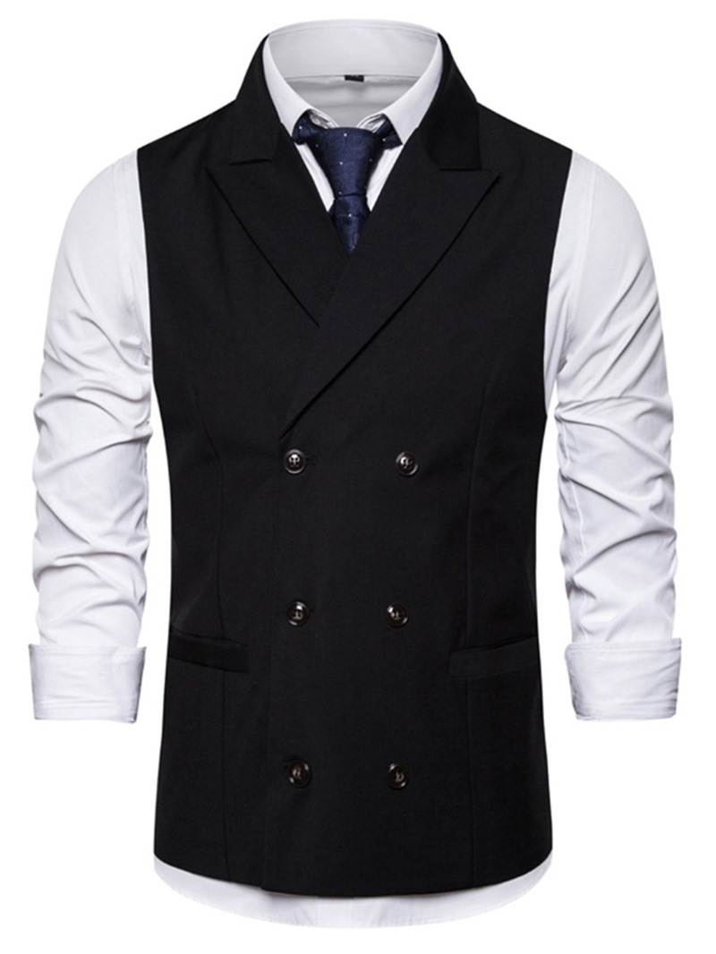 Ericdress Button Plain Notched Lapel Double-Breasted Mens Fashion Waistcoat