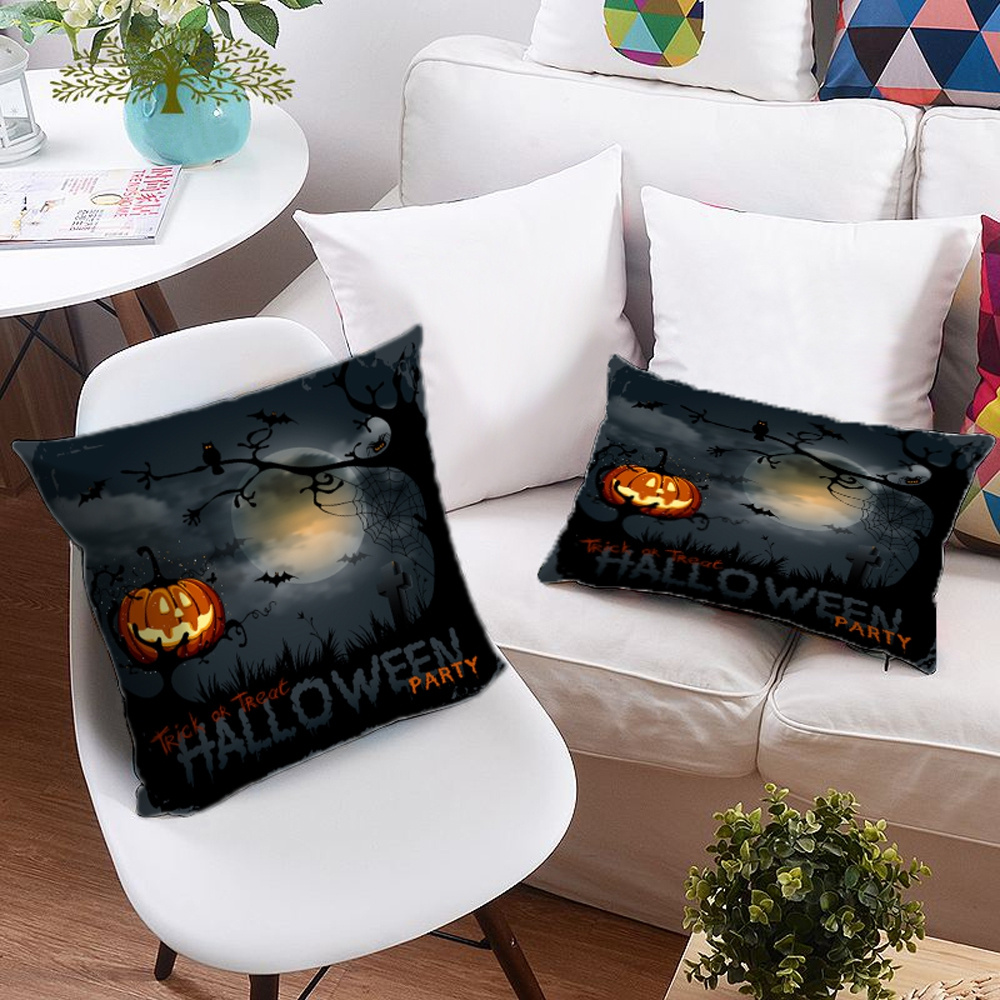 3D Pumpkin Lantern and Halloween Bats Printing Polyester Throw Pillow