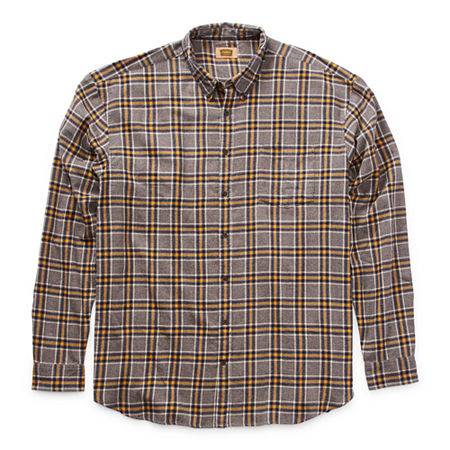 The Foundry Big & Tall Supply Co. Big and Tall Mens Long Sleeve Flannel Shirt, 5x-large Tall , Yellow