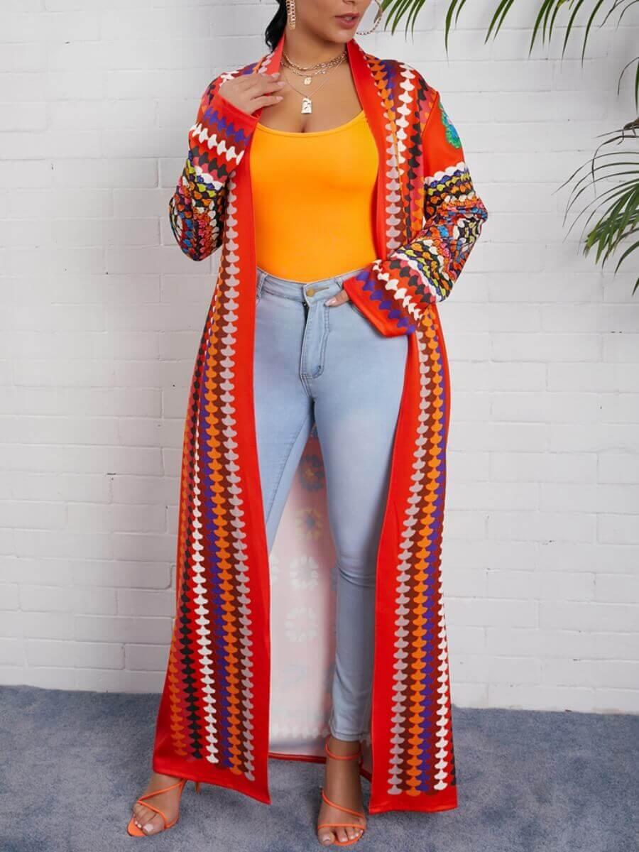 LW Lovely Bohemian Print Multicolor Long Coat