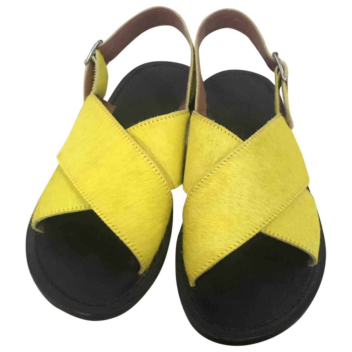 Marni \N Yellow Pony-style calfskin Sandals for Women 37.5 EU