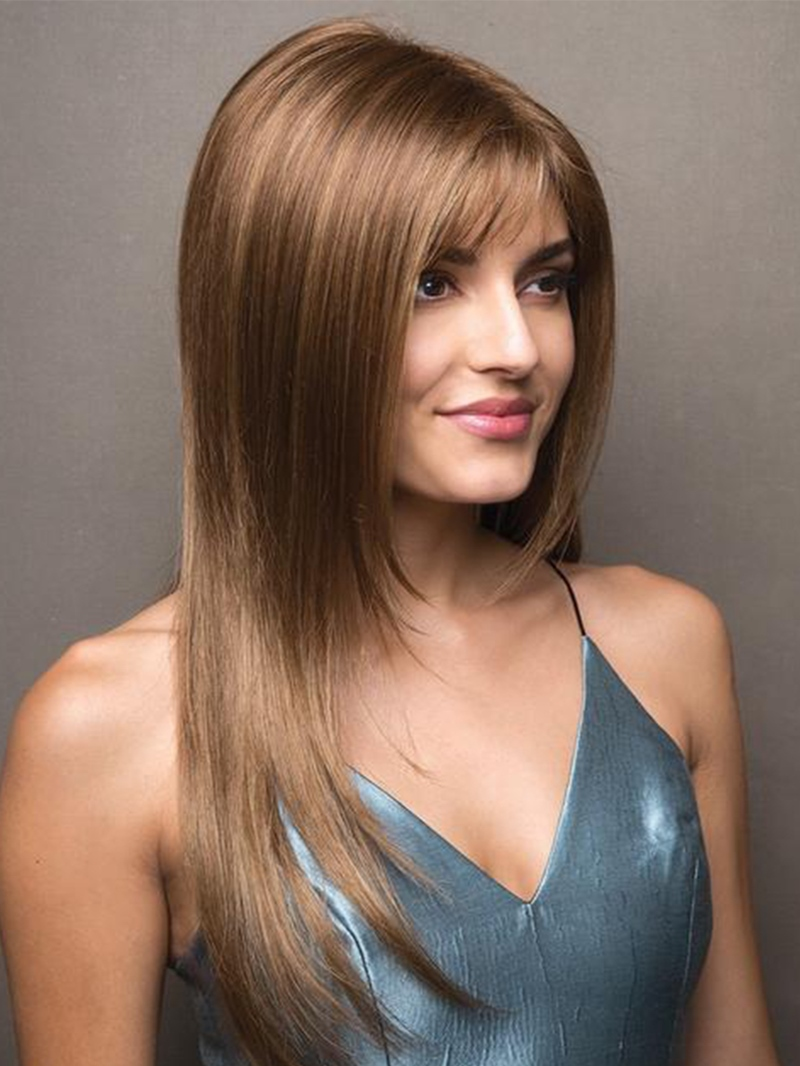 Ericdress Womens Long Length Slik Straight Human Hair Lace Front Wigs 24Inch