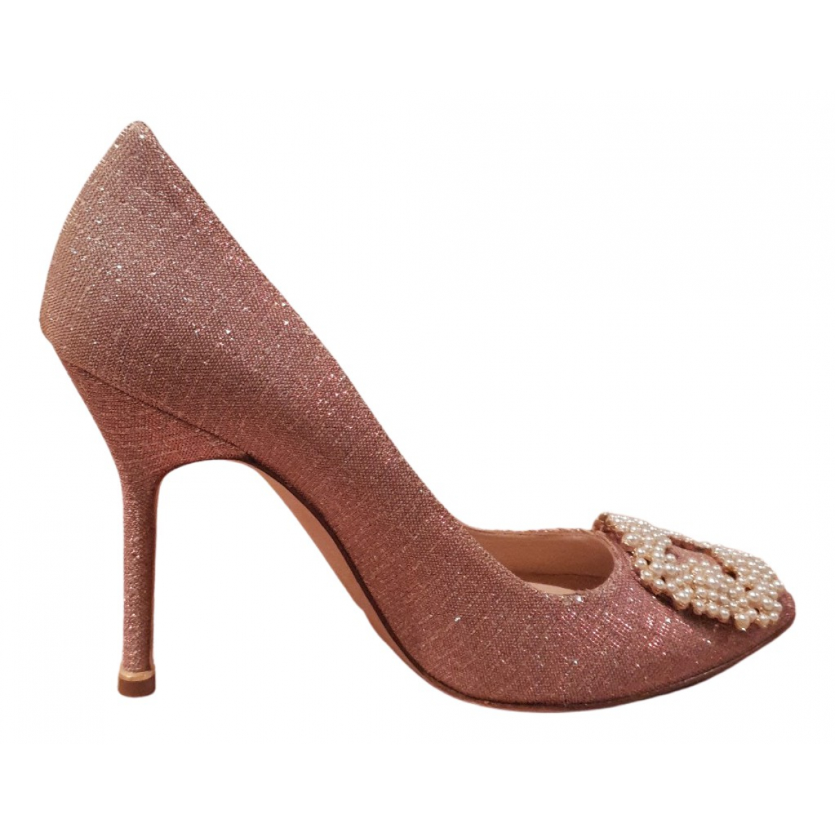 Manolo Blahnik Hangisi Pink Glitter Heels for Women 38 EU