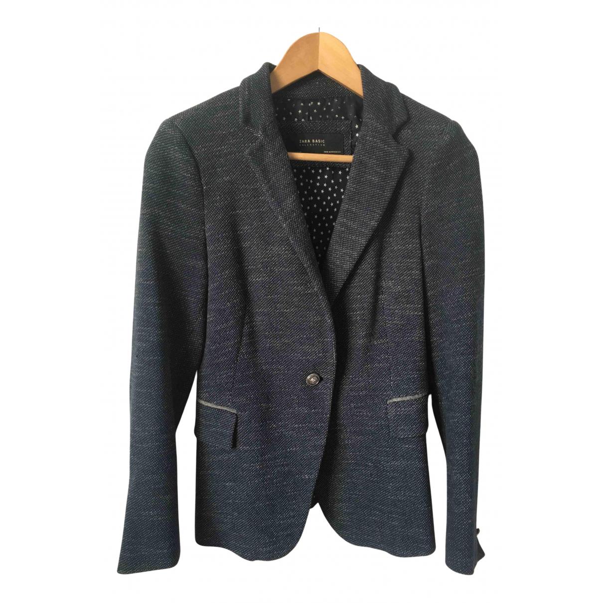 Zara - Veste   pour femme en laine - bleu