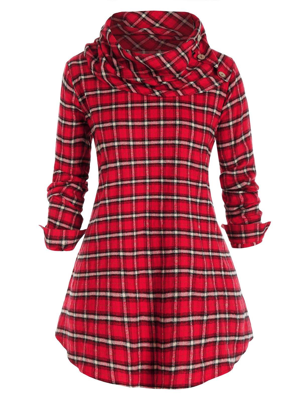 Plus Size Plaid Cowl Neck Tunic Pullover Blouse