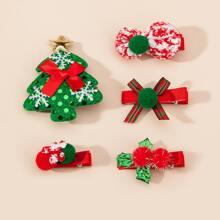 5 Stuecke Kleinkind Maedchen Haarclip mit Weihnachten Dekor