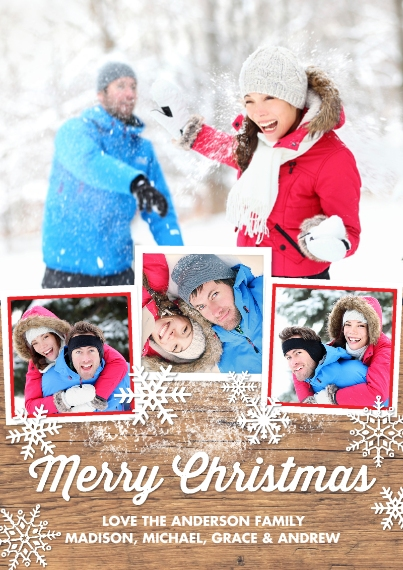 Christmas Photo Cards 5x7 Cards, Premium Cardstock 120lb, Card & Stationery -Christmas Rustic Snowy Collage