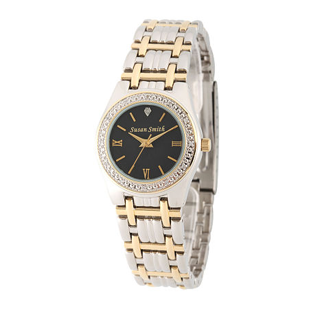 Personalized Dial Womens Diamond-Accent Two-Tone Bracelet Watch, One Size , No Color Family