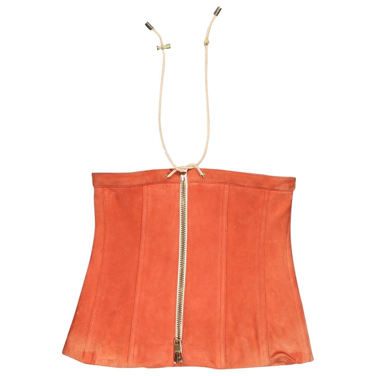 Balmain - Top   pour femme en suede - orange