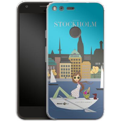 Google Pixel Silikon Handyhuelle - STOCKHOLM TRAVEL POSTER von IRMA