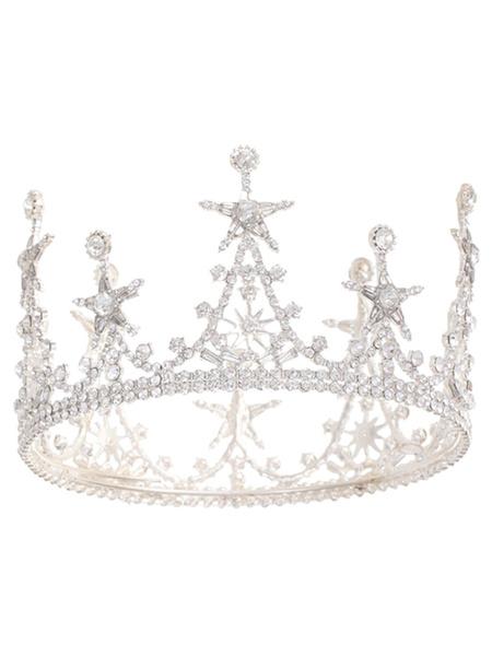 Milanoo Tocados Boda Tiara Metal Bridal Star Pearl Accesorios para el cabello