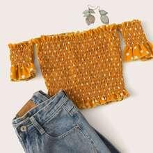 Schulterfreie Bluse mit Punkten Muster
