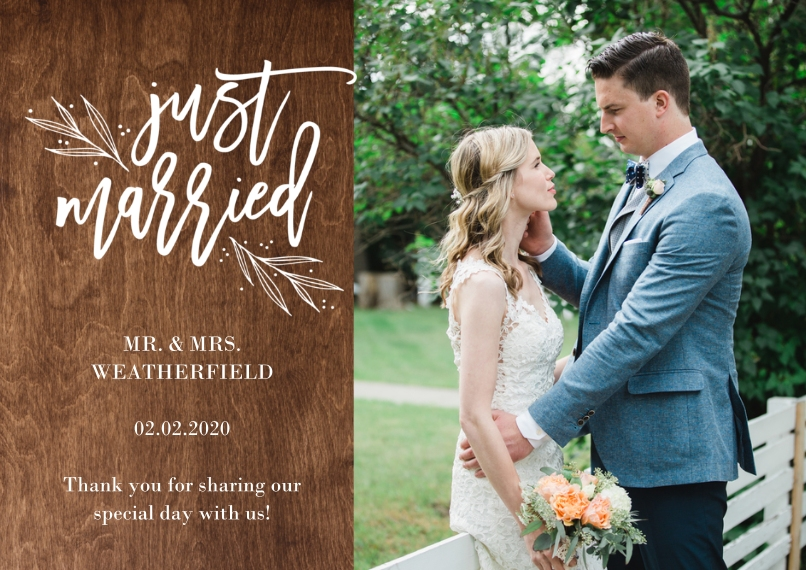 Just Married 5x7 Cards, Premium Cardstock 120lb with Elegant Corners, Card & Stationery -Wedding Just Married Rustic Wedding by Tumbalina