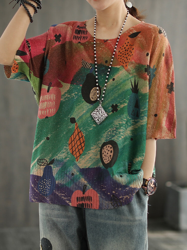 O-neck Knitting Print Half Sleeve T-shirt For Women
