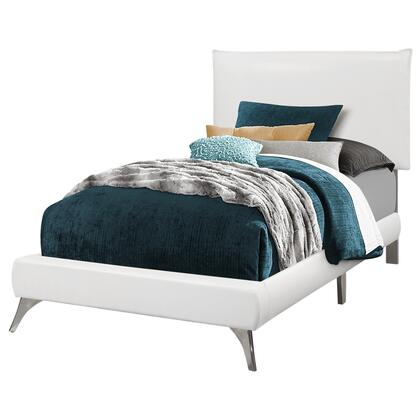 I 5953T Twin Size Bed / White Leather-Look With Chrome