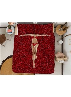 Rmoantic Red Rose Petals Wear-resistant Breathable High Quality 60s Cotton 4-Piece 3D Bedding Sets