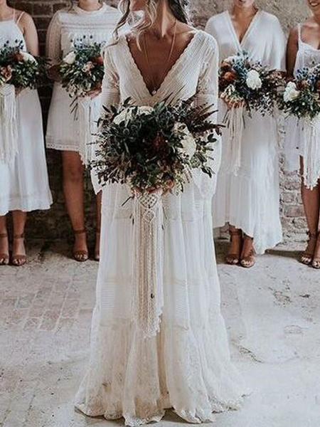 Milanoo boho wedding dresses 2020 a line deep v neck multilayer lace chiffon beach party dress bridal gowns