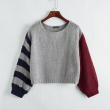 Drop Shoulder Color Block Sweater