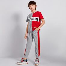 Boys Letter Graphic Colorblock Top & Striped Side Sweatpants Set
