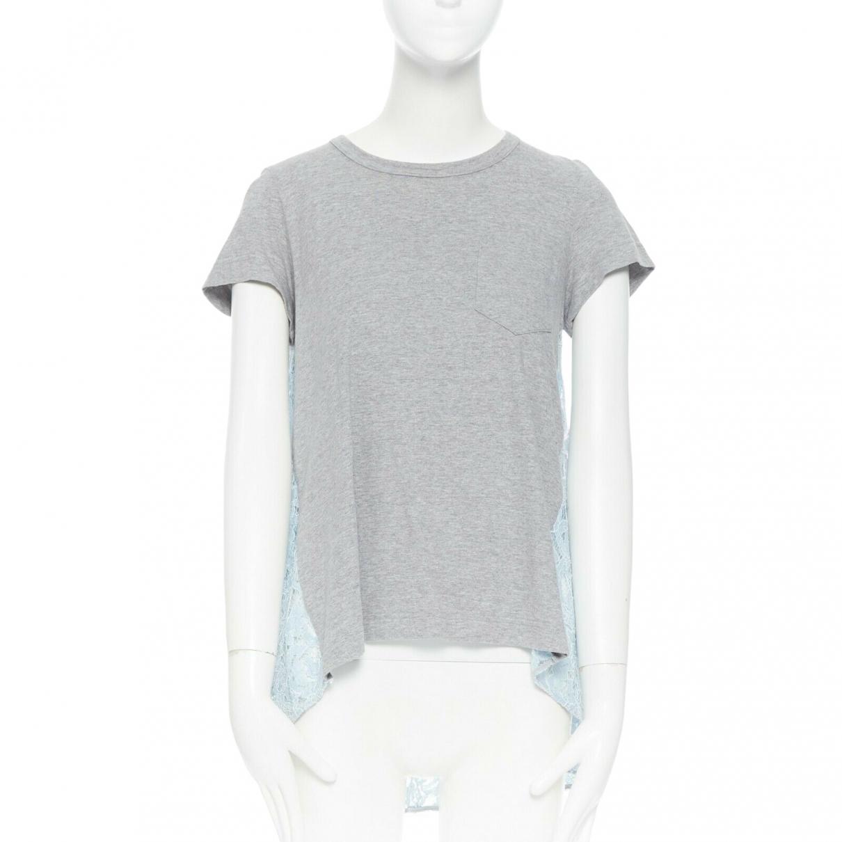 Sacai Luck - Top   pour femme en coton - gris