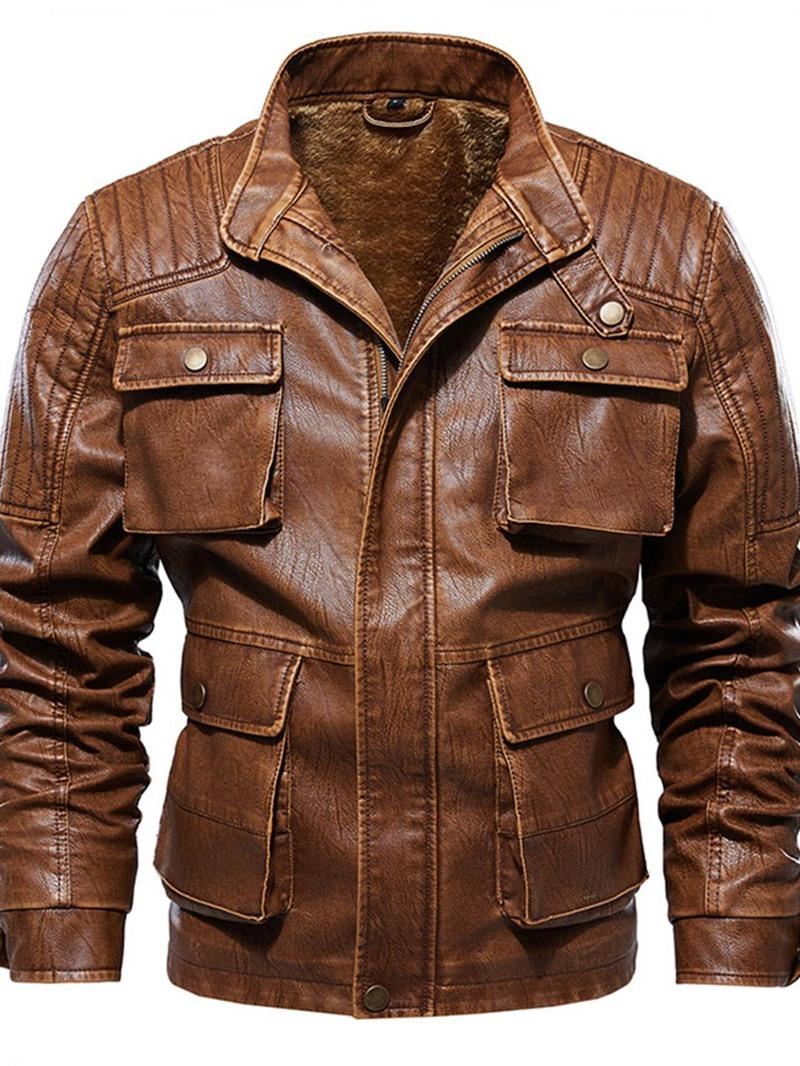 Ericdress Stand Collar Plain Standard Winter European Leather Jacket