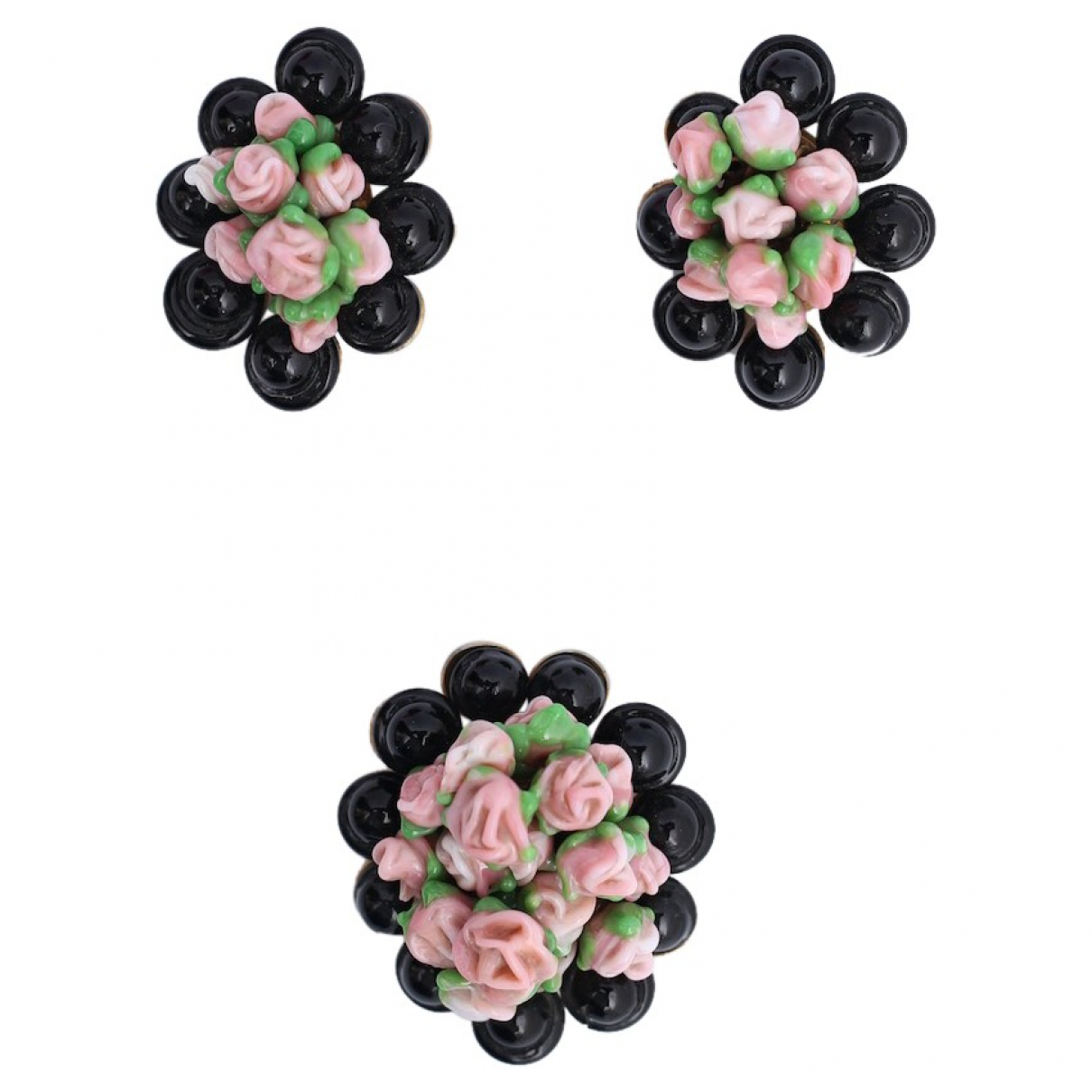 Non Signe / Unsigned Motifs Floraux Schmuck-set in  Rosa Glas