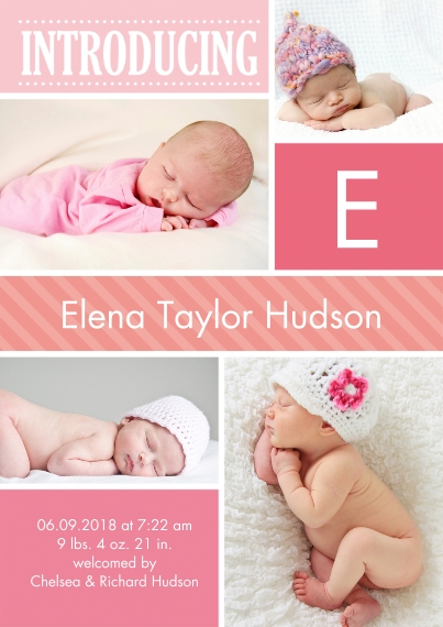 Baby Announcements 5x7 Cards, Premium Cardstock 120lb, Card & Stationery -Baby Introduce Initial
