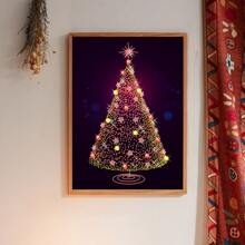 Wandmalerei mit Weihnachtsbaum Muster ohne Rahmen