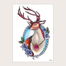 1 pieza pegatina de tatuaje de ciervo de navidad