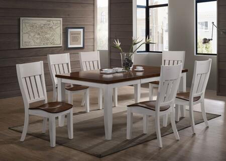 Casanova Collection 82CN00-WCN-GR 7 Piece Dining Set with 6 Chairs and Table in White and Cinnamon