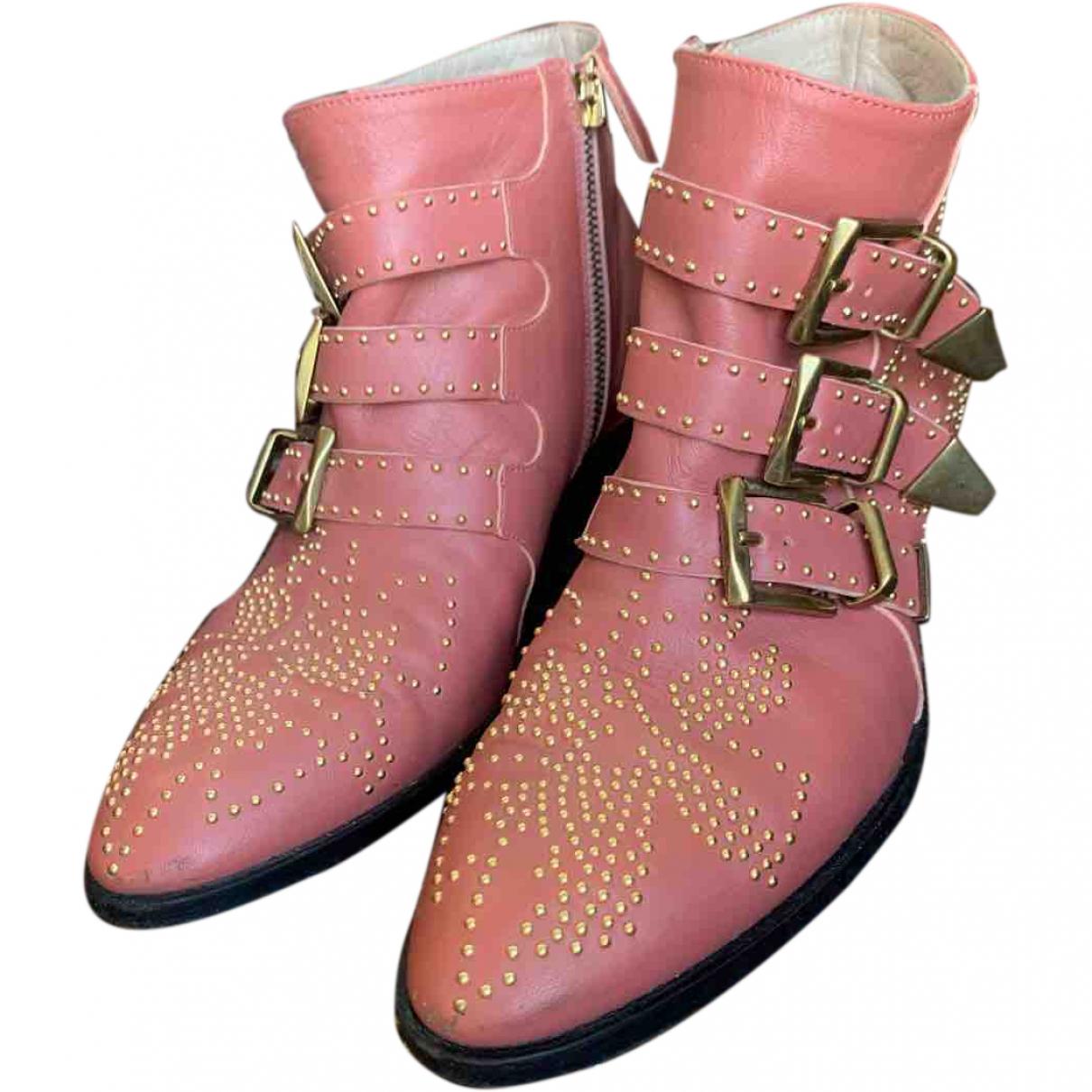 Chloe - Boots Susanna pour femme en cuir - rose