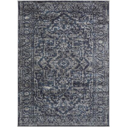 Monte Carlo MNC-2301 9' x 12' Rectangle Traditional Rug in Navy  White  Charcoal  Light Gray  Sky