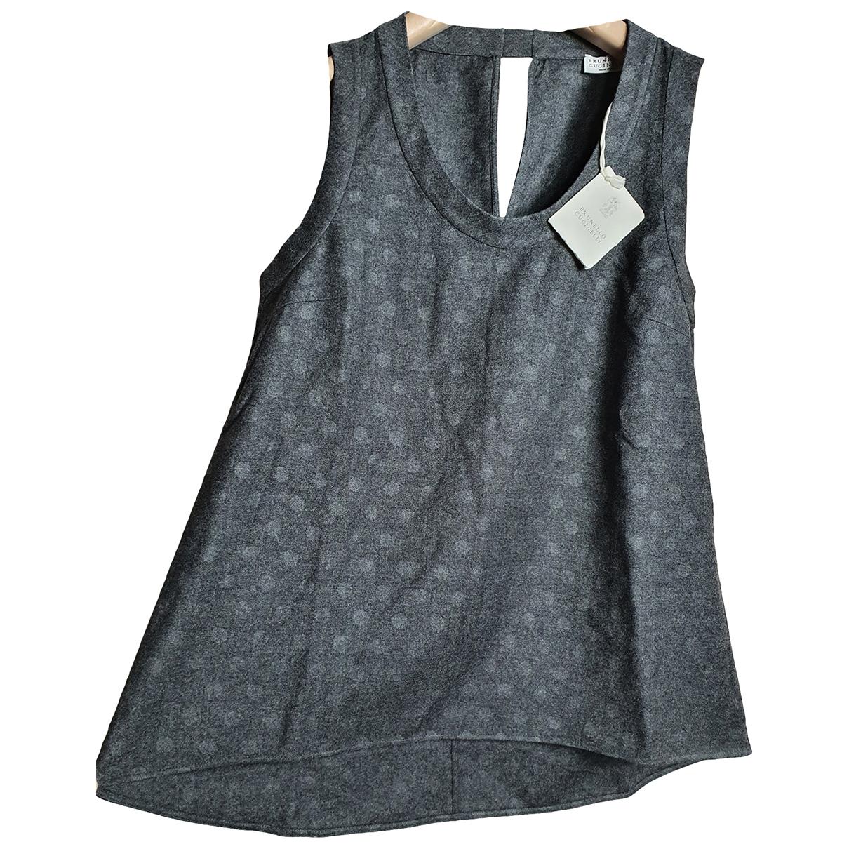 Brunello Cucinelli - Top   pour femme en laine - anthracite