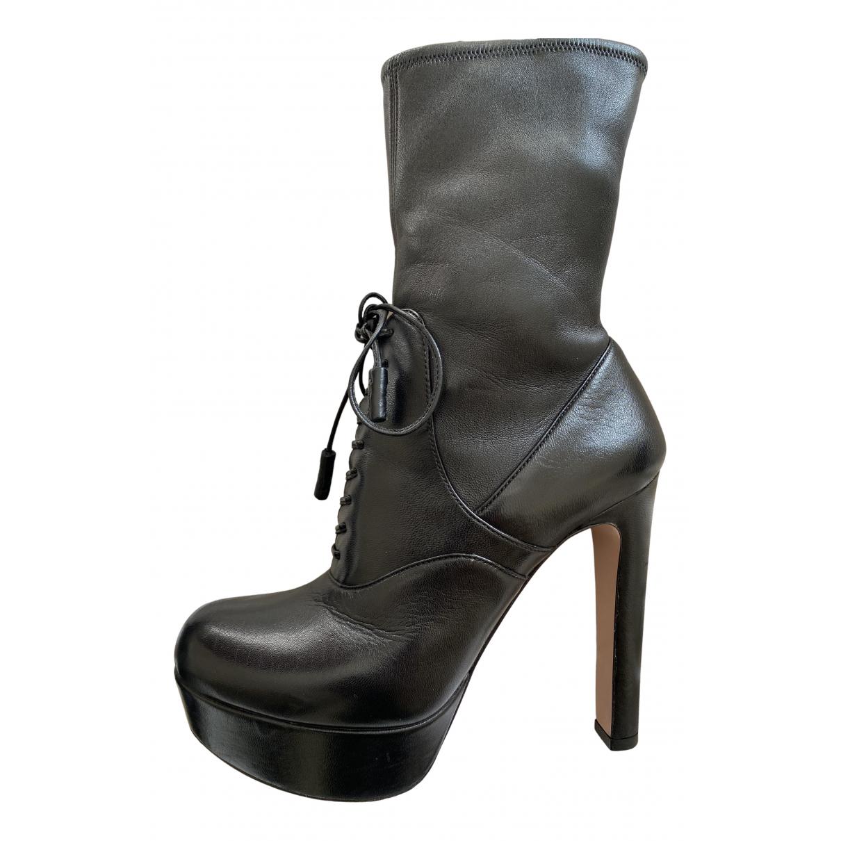 Prada - Bottes   pour femme en cuir - noir