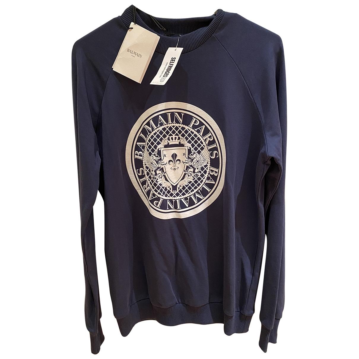 Balmain - Pull   pour femme en coton - bleu