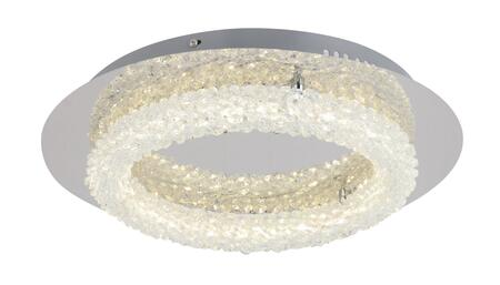 FT27 LED Flush Mount with Iron and Crystal Materials and 20 Watts in Chrome