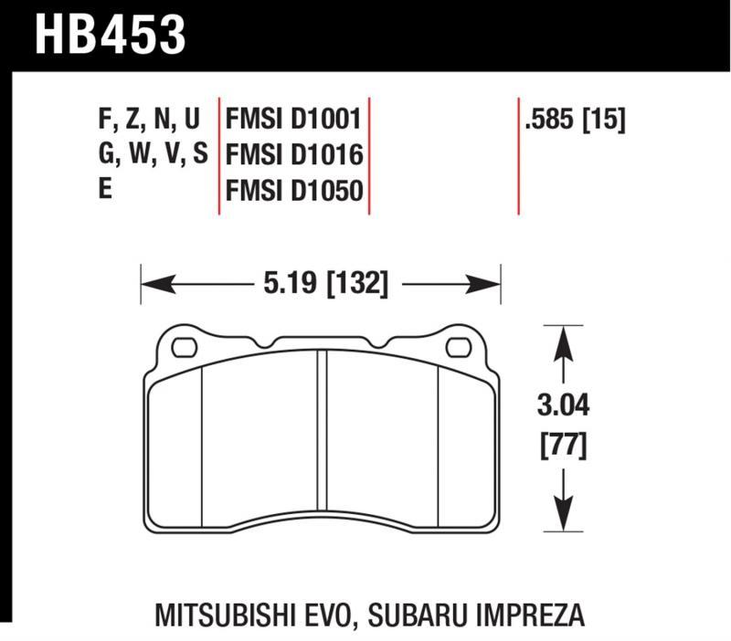 Hawk Performance HB453Z.585 Disc Brake Pad Front