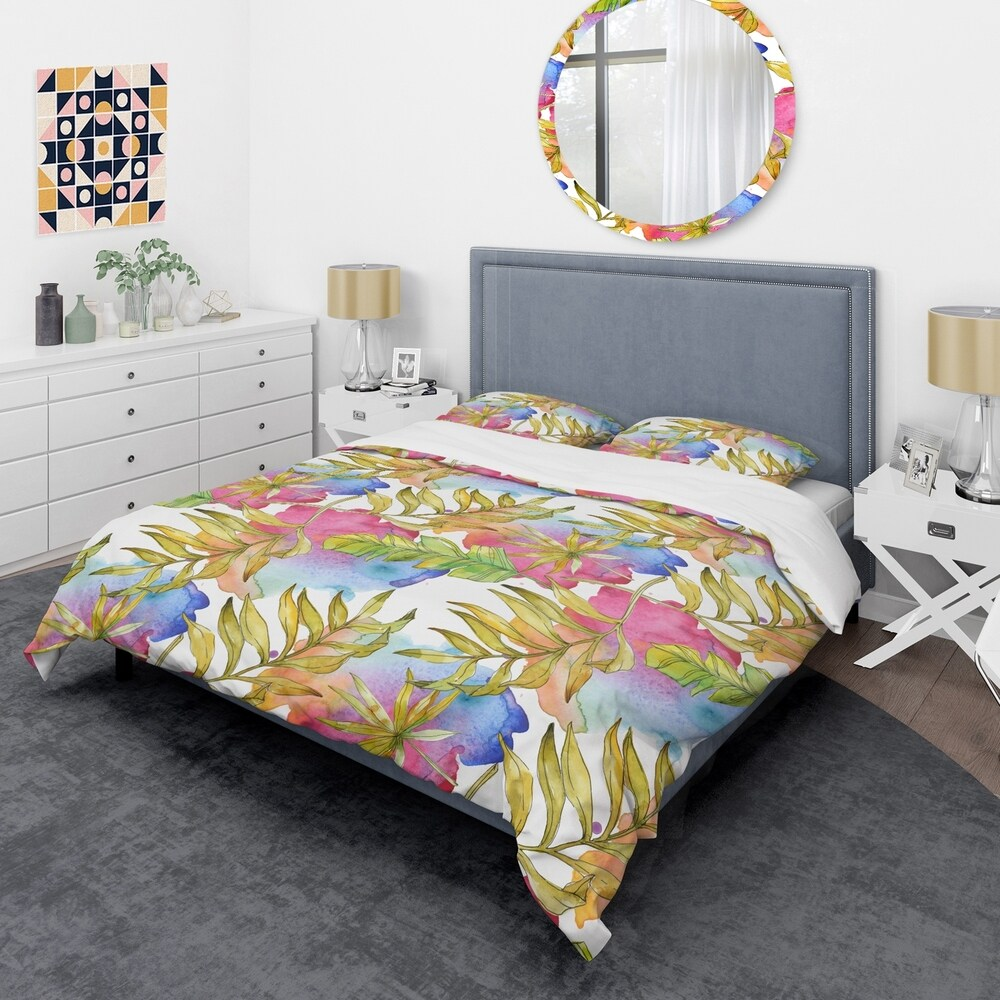 Designart 'Tropical Foliage IV' Mid-Century Duvet Cover Set (King Cover + 2 king Shams (comforter not included))