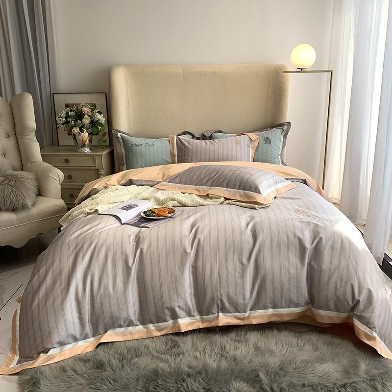 Diagonal Embroidery Duvet Cover Set Four-Piece Set Pima Cotton Bedding Sets 6 Colors