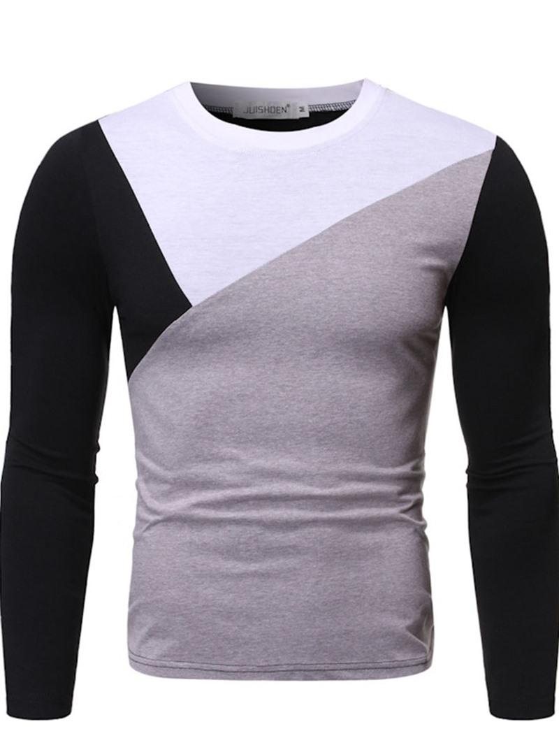 Ericdress Color Block Round Neck Korean Men's Slim Shirt