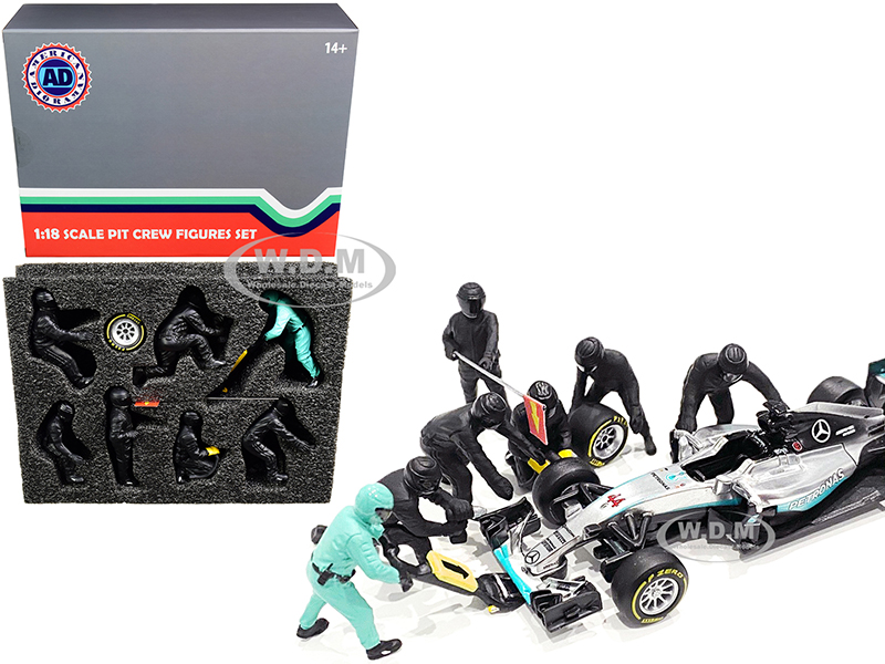 Formula One F1 Pit Crew 7 Figurine Set Team Black for 1/18 Scale Models by American Diorama