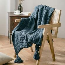 Tassel Decor Knitted Blanket