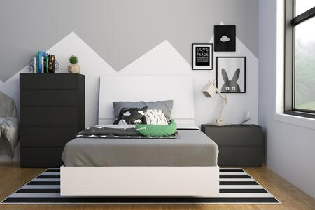 400774 Melrose 4 Piece Twin Size Bedroom Set with Platform Bed + Headboard + Nightstand + Chest  in Black & White Matte Lacquer And