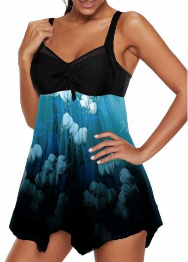 Women'S Cyan Strappy Swimdress Bathing Suit Spaghetti Strap Wire Free Padded V Neck Asymmetric Hem Bowknot Detail Print Swimsuit And Shorts - M