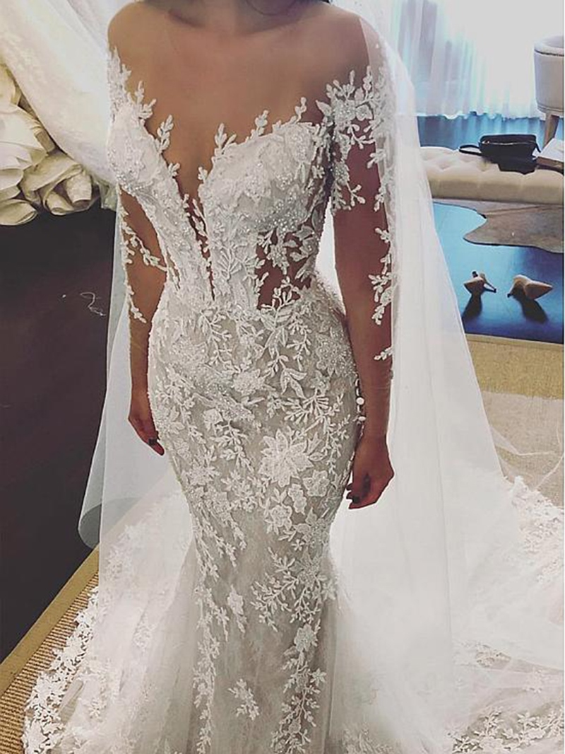 Ericdress Long Sleeves Appliques Beading Mermaid Wedding Dress