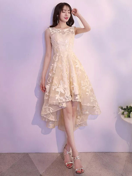 Milanoo Lace Cocktail Dresses Asymmetrical High Low Formal Party Dress