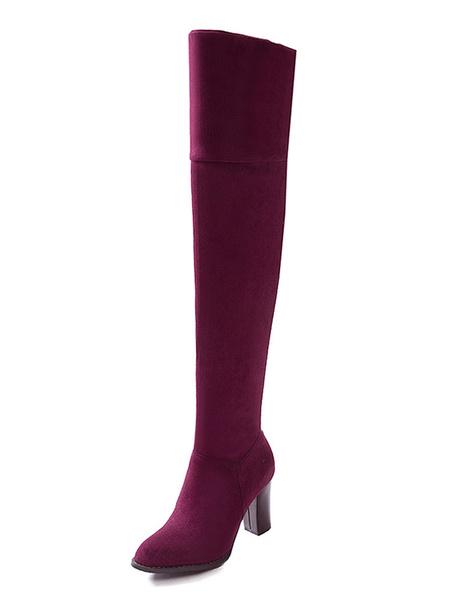 Milanoo Botas altas mujer Color borgoña con pala de gamuza de tacon gordo de puntera redonda 8cm Color liso Otoño Invierno Cremallera