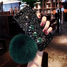 Pom Pom Pendant Sequin iPhone Case With Hand Chain Holder