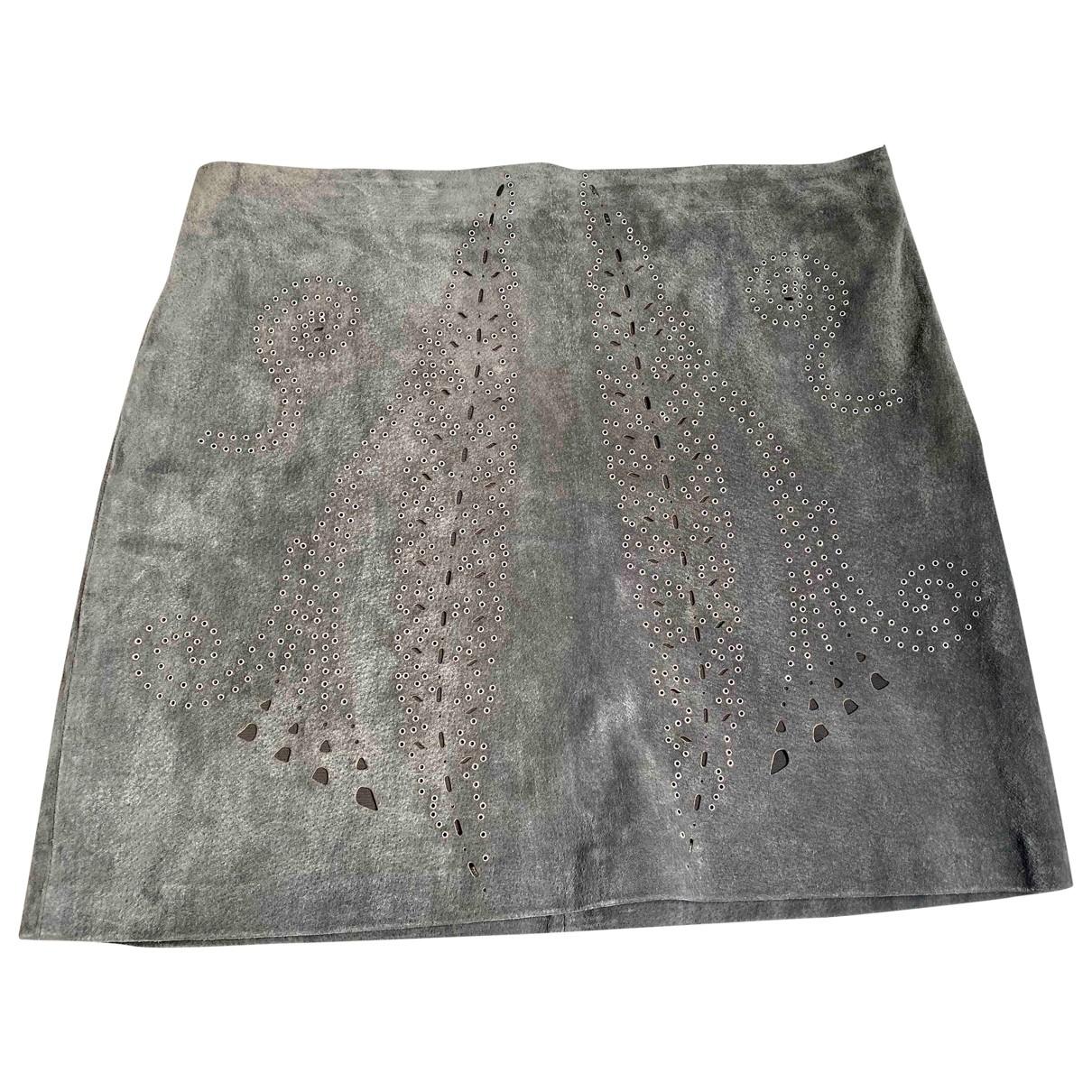 Zara - Jupe   pour femme en suede - gris